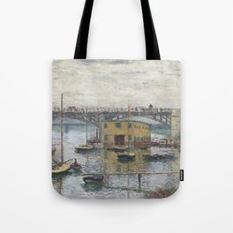 Bridge at Argenteuil on a Gray Day (1876) by Claude Monet Tote Bag