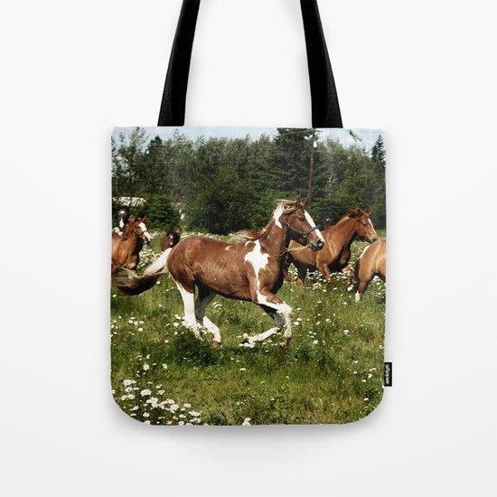 Spring Horse Run Tote Bag