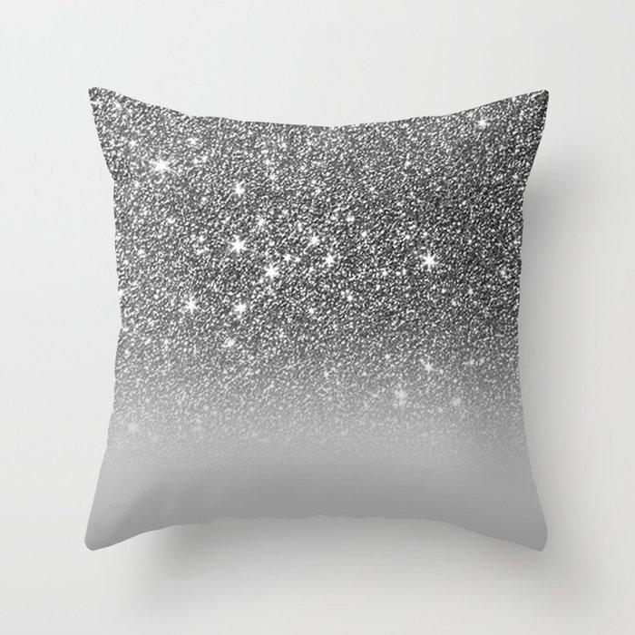 Bullet Gray & Silver Glitter Gradient Deko-Kissen
