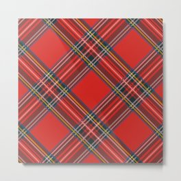 Red Plaid Tartan Metal Print