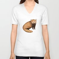 red panda V-neck T-shirts featuring Red Panda by Sophie Corrigan