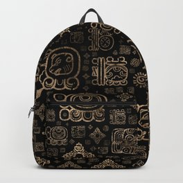Mayan glyphs and ornaments pattern -gold on black Backpack