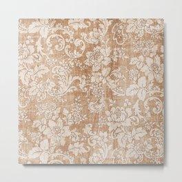 Vintage white brown grunge shabby floral Metal Print