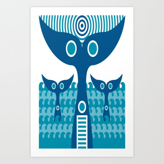 Whale-Tails Art Print