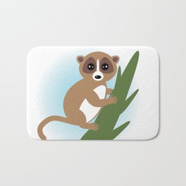 lemur on green branch on white background Bath Mat