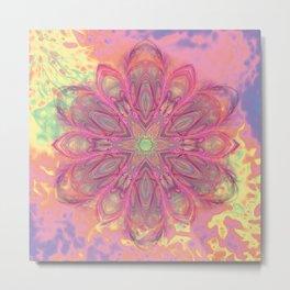 Beautiful kaleidoscope in pink with texture Metal Print