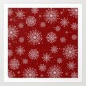 Assorted White Snowflakes On Red Background by lavieclaire