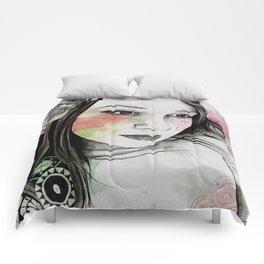 Treasure (young cute girl, magnolia & mandalas) Comforters