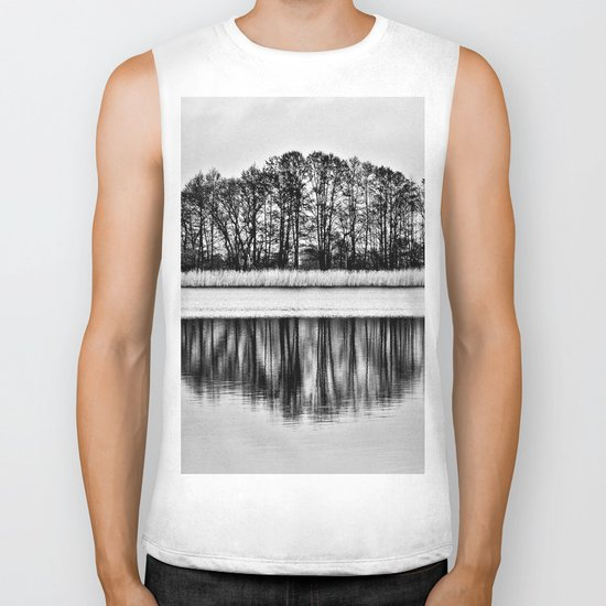 White Symphony of Winter Lake Biker Tank