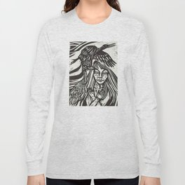 Women with Sandhill Cranes- Woodcut Long Sleeve T-shirt