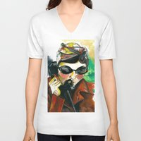 amelie V-neck T-shirts featuring Amelie by Gra Pereira
