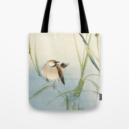 Sparrow and Butterfly  - Vintage Japanese Woodblock Print Art Tote Bag