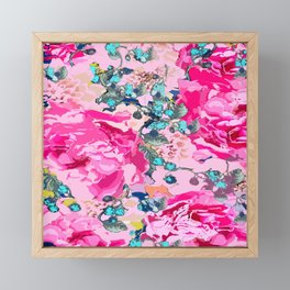 Pink floral work with some turquoise and yellow details #decor #society6 #buyart Framed Mini Art Print