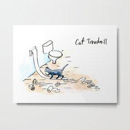 Comic Cat Treadmill Metal Print