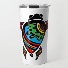 Colorful Abstract Tribal Sea Turtle Travel Mug