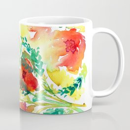 Orange Flowers Watercolor Coffee Mug