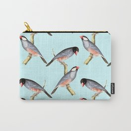 Purple and Pink Birds Pattern Carry-All Pouch