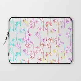 Trendy pink teal watercolor modern bamboo trees floral Laptop Sleeve