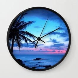Tropical Island Beach Ocean Pink Blue Sunset Photo Wall Clock