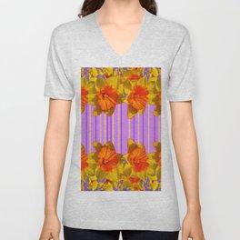 Orange-Yellow Daffodils Lilac Vision Unisex V-Neck