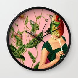 fish soul mate pink #collage Wall Clock