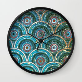 Aqua Teal Blue and Green Sparkling Faux Glitter Circles and Dots Wall Clock