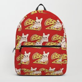 Cream Frenchie invites you to her Pepperoni pizza party Backpack