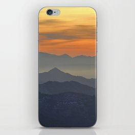 Mountains. Foggy sunset iPhone Skin