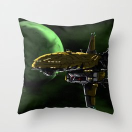 Comman Spaceship in Orbit Throw Pillow