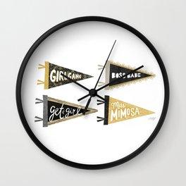 Girl Gang Pennants Wall Clock