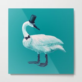 Funny Swan With Bowtie And Cylinder Hat Metal Print