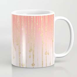Color block coral faux gold glitter waterdrops ombre Coffee Mug