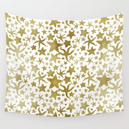 Gold Starfish Pattern Wall Tapestry