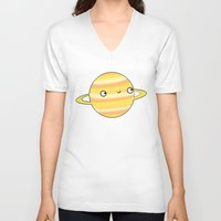 saturn V-neck T-shirts featuring Saturn by Sarah Crosby