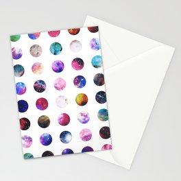 Rainbow Nebula Galaxy Girly Polka Dots Pattern Stationery Cards