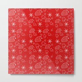 New Year Christmas winter holidays cute pattern Metal Print