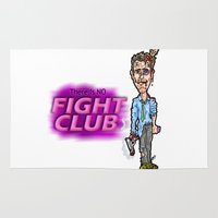 tyler durden Area & Throw Rugs featuring Edward Norton and Brad Pitt as Tyler Durden in...  The Fight Club Cartoon!  by beetoons