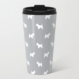 West Highland Terrier dog pattern minimal dog lover gifts grey and white Travel Mug