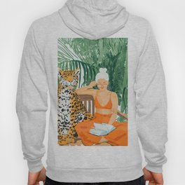 Jungle Vacay, Tropical Nature Painting, Woman & Wildlife, Tiger Palms Illustration, Fashion Hoody
