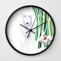 princess mononoke Wall Clocks featuring Princess Mononoke by youcoucou