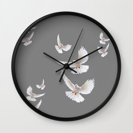 WHITE PEACE DOVES ON GREY COLOR DESIGN ART Wall Clock