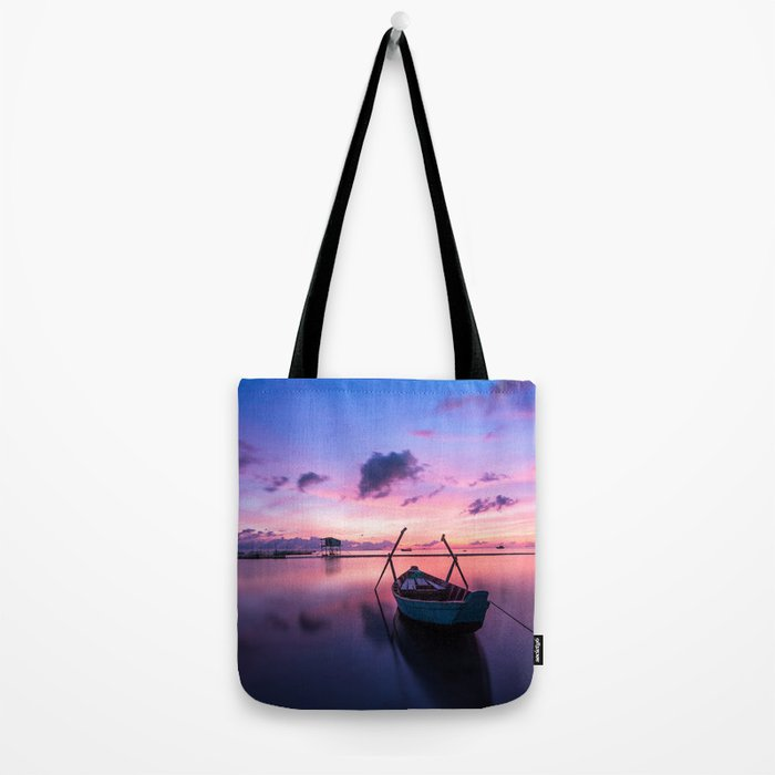 Boat and Sunrise Tote Bag
