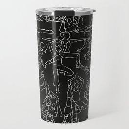 Chalkboard Yoga Pattern - white on black Travel Mug