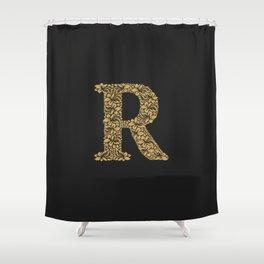 Floral Letter R Shower Curtain