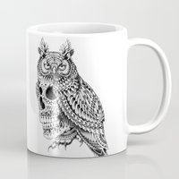 bioworkz Mugs featuring Great Horned Skull by BIOWORKZ