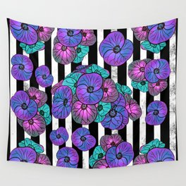 Florals over black and white stripes Wall Tapestry