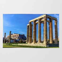 ruins of ancient temple of Zeus, Athens, Greece, HDR photo Rug