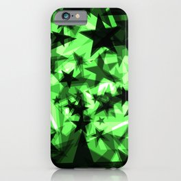 Dark green space stars with glow in the distance from the foil in perspective. iPhone Case