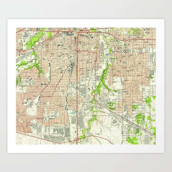 Vintage Map of Fort Worth Texas (1955) Art Print by bravuramedia