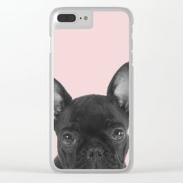 Blush pink Frenchie pop Clear iPhone Case